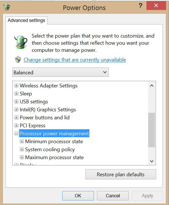 Power options Max CPU settings missing? | Microsoft Surface